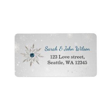 silver aqua snowflakes return address label