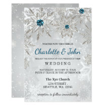 silver aqua snowflakes winter wedding invitation