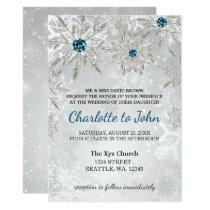 silver aqua snowflakes winter wedding invitation