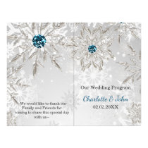 silver aqua snowflakes winter wedding program