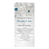 silver aqua snowflakes winter wedding programs