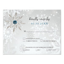 silver aqua snowflakes winter wedding rsvp card