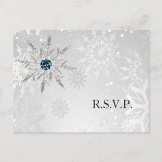 silver aqua snowflakes winter wedding rsvp invitation postcard