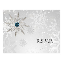 silver aqua snowflakes winter wedding rsvp postcard