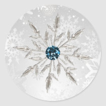 silver aqua snowflakes winter wedding stickers