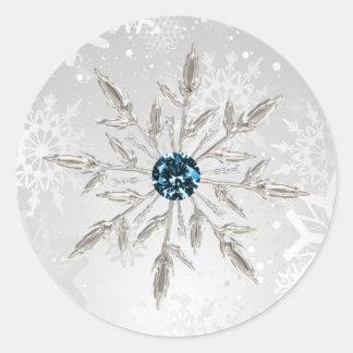 silver aqua snowflakes winter wedding stickers