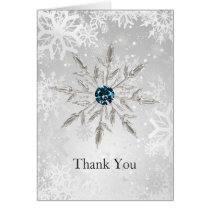 silver aqua snowflakes winter wedding Thank You Card