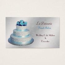 silver aqua Wedding Cakemakers business Cards