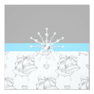 Silver/Aqua wedding invitation with bells