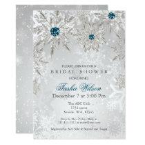 silver aqua Winter Bridal Shower Invite