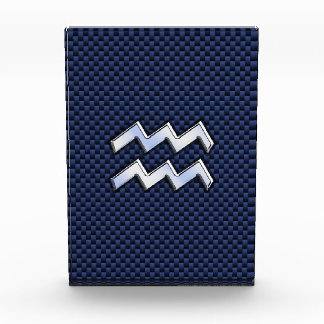 Silver Aquarius Sign on Navy Blue Carbon Fiber Art Acrylic Award