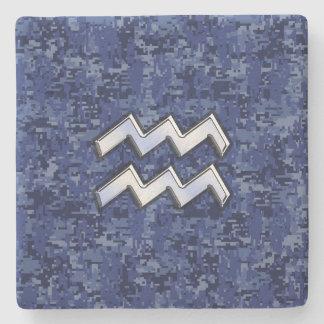 Silver Aquarius Zodiac Sign Navy Blue Digital Camo Stone Coaster