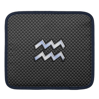 Silver Aquarius Zodiac Symbol Carbon Fiber Style iPad Sleeves