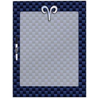 Silver Aries Zodiac Sign Blue Carbon Fiber Print Dry-Erase Board