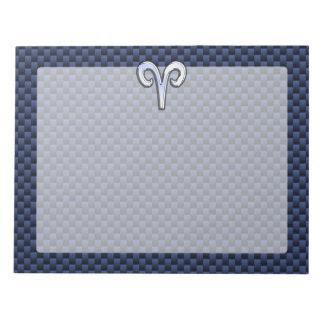 Silver Aries Zodiac Sign Blue Carbon Fiber Print Notepad