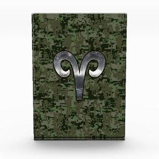 Silver Aries Zodiac Symbol Green Digital Camo Award