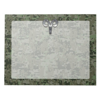 Silver Aries Zodiac Symbol Green Digital Camo Notepad