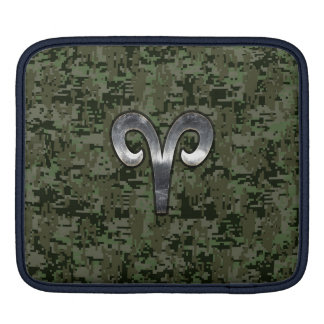 Silver Aries Zodiac Symbol Green Digital Camo Sleeves For iPads