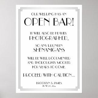 Silver Art Deco Gatsby Open Bar Sign 18x24