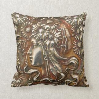 Silver Art Nouveau Lady Vintage Costume Jewelry Pillow