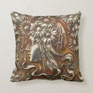 Silver Art Nouveau Lady Vintage Costume Jewelry Throw Pillow