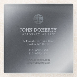 Silver Attorney at Law | Lawyer's contact info Glass Coaster