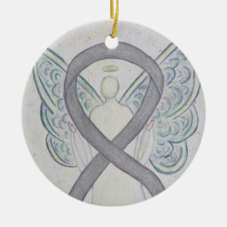 Silver Awareness Ribbon Angel Art Ornaments