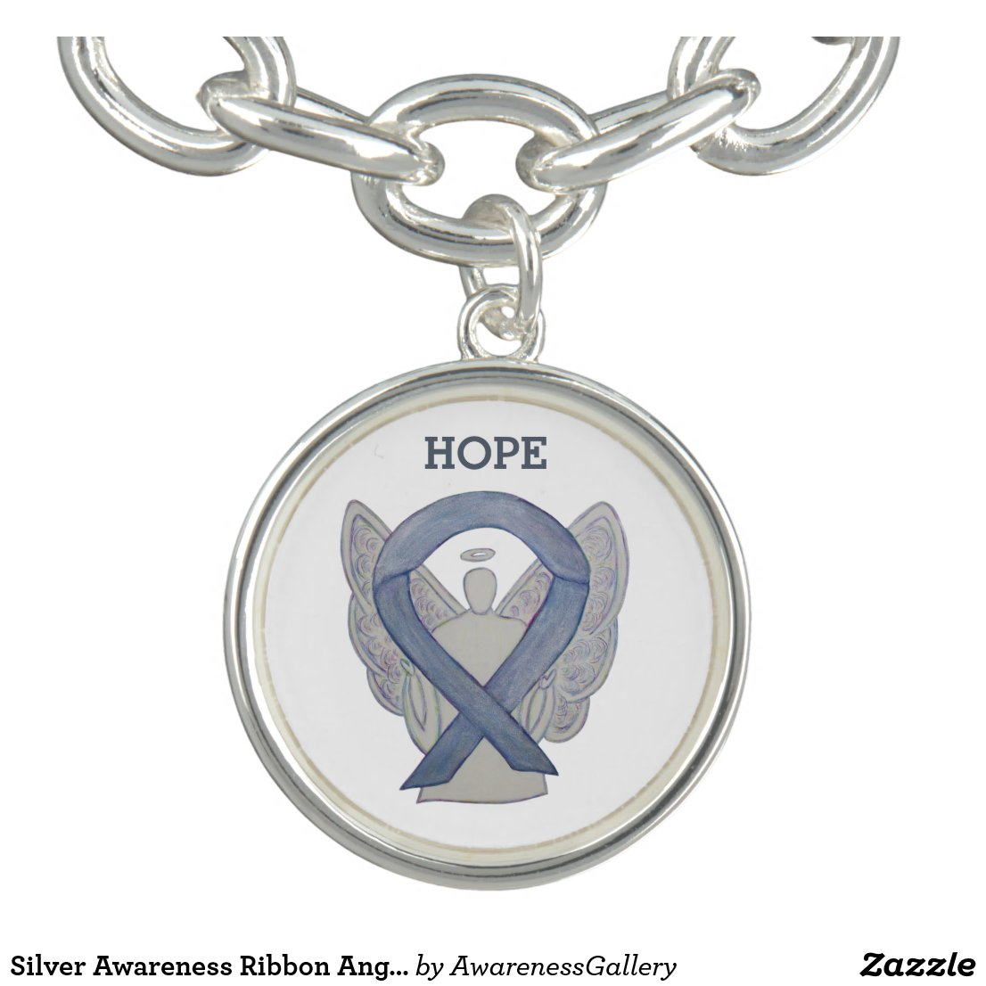 Silver Awareness Ribbon Angel Charm Bracelet
