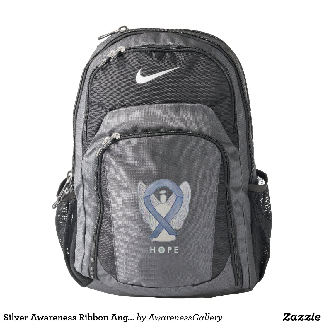 Silver Awareness Ribbon Angel Custom Backpack