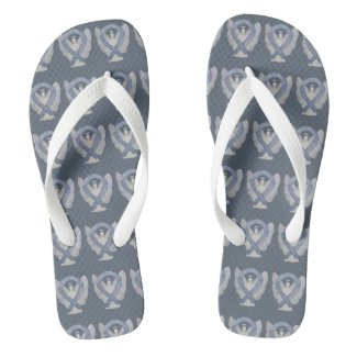 Silver Awareness Ribbon Angel Custom Flip Flops
