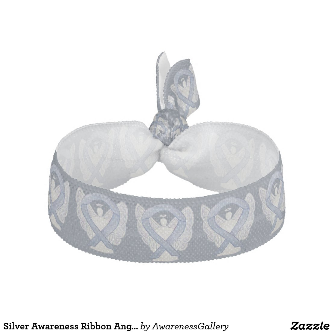 Silver Awareness Ribbon Angel Custom Hair Ties