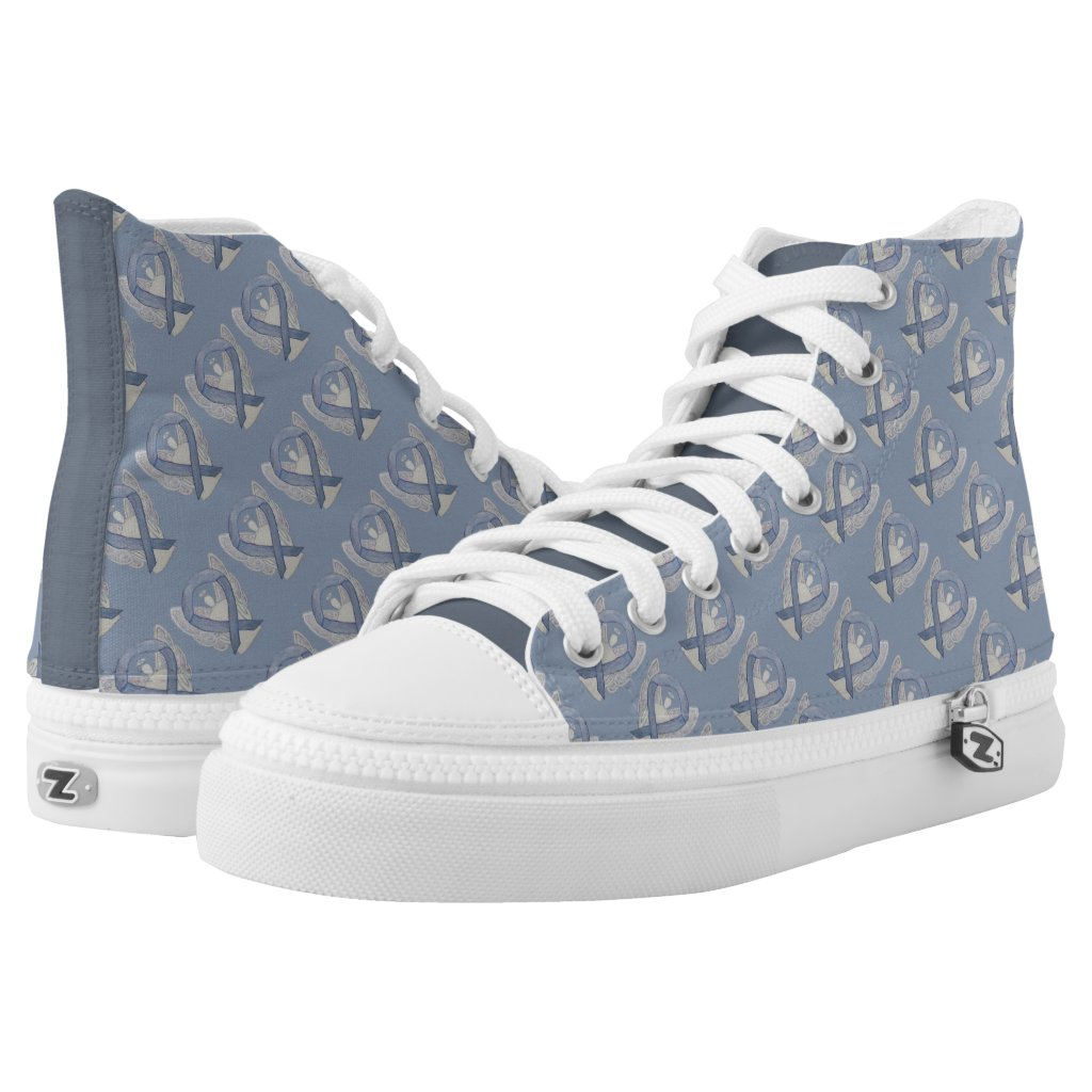 Silver Awareness Ribbon Angel Custom High Tops