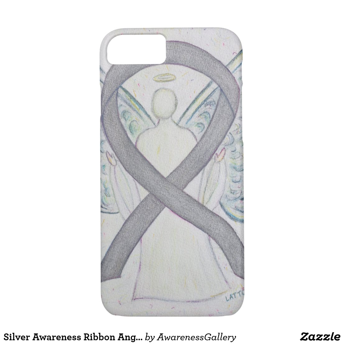 Silver Awareness Ribbon Angel Custom iPhone 7 Case