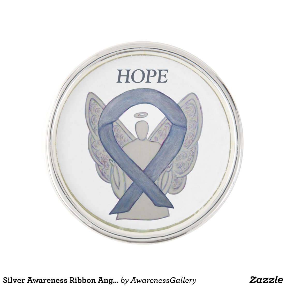 Silver Awareness Ribbon Angel Custom Lapel Pin