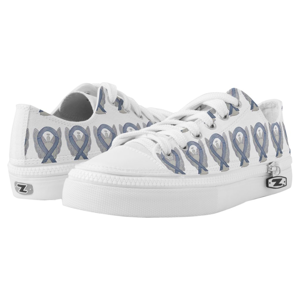 Silver Awareness Ribbon Angel Custom Sneakers