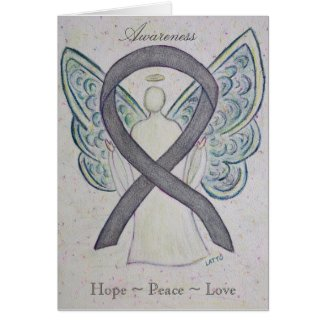 Silver Awareness Ribbon Angel Greeting Card