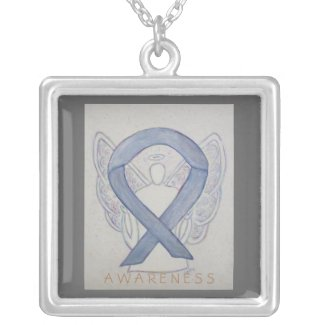 Silver Awareness Ribbon Angel Jewelry Necklace