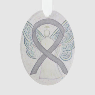 Silver Awareness Ribbon Angel Ornament Pendant