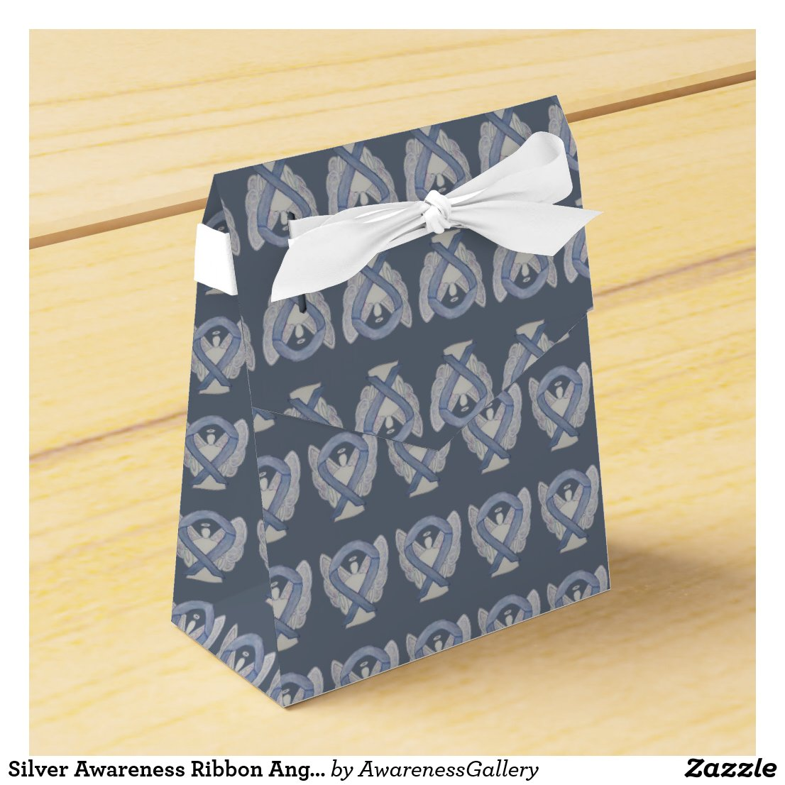Silver Awareness Ribbon Angel Party Favor Box