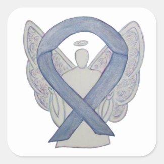 Silver Awareness Ribbon Angel Sticker Decals
