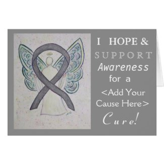 Silver Awareness Ribbon Custom Cause Angel Cards