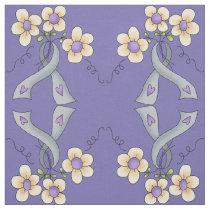 Silver Awareness Ribbon & Flowers Fabric