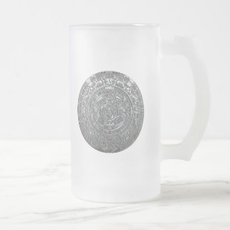 Silver Aztec Calendar Frosted Glass Beer Mug