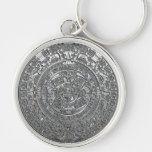 Silver Aztec Calendar Key Chain