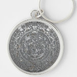 Silver Aztec Calendar Silver-Colored Round Keychain