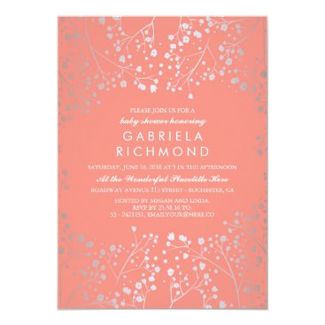 Toddler & Baby themed Silver Baby's Breath Elegant Coral Baby Shower Card