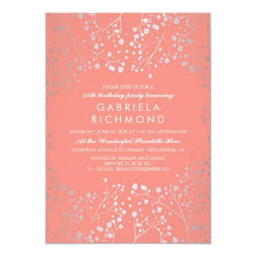 Toddler & Baby themed Silver Baby's Breath Elegant Coral Birthday Party Card