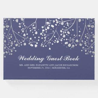 Silver Baby's Breath Floral Elegant Navy Wedding Guest Book