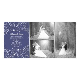 Silver Baby's Breath Navy Wedding Photo Thank You Card
