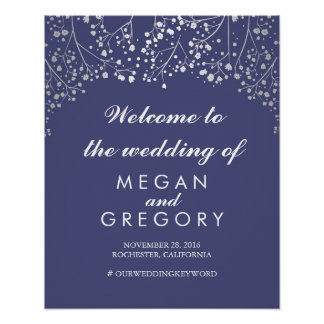 Silver Baby's Breath Wedding Welcome Sign Navy